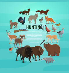 Hunting prey and gun poster with animals and rifle vector
