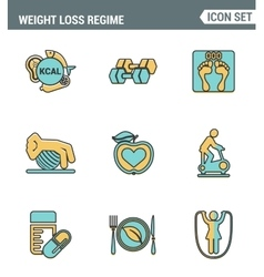 Icons line set premium quality of weight loss vector image
