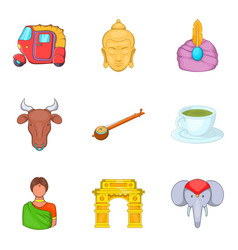 indian castes icons set cartoon style vector image