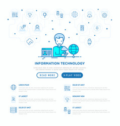 information technology man using cloud service vector image