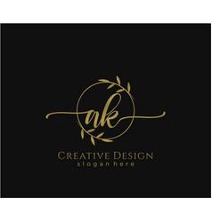 Initial ak beauty monogram and elegant logo design vector