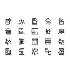 Line icons pack data management vector