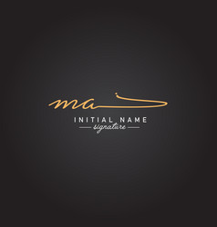 Ma initial letter logo - handwritten signature vector
