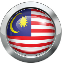 Malaysian flag metal button vector