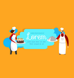Man and woman chefs with cake and dish in hands vector