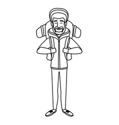 Man winter clothes with backpack on white vector