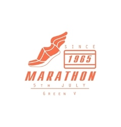 Marathon Running Orange Label Design vector