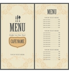 Menu for the restaurant in vector