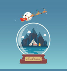 merry christmas glass ball santa sleigh vector image