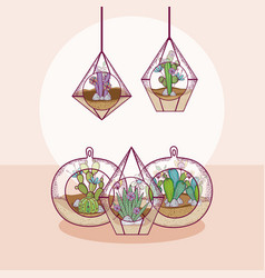Mini gardesn in crystal glass concept vector