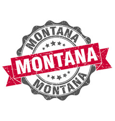 montana round ribbon seal vector image