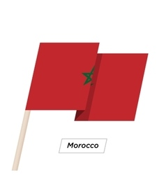 Morocco Ribbon Waving Flag Isolated on White vector image