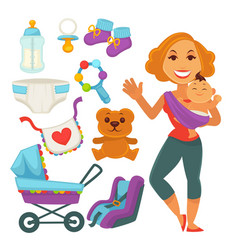 mother holding newborn child and baby accessories vector image