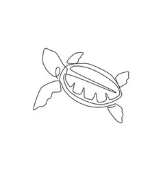 One single line drawing big turtle for marine vector