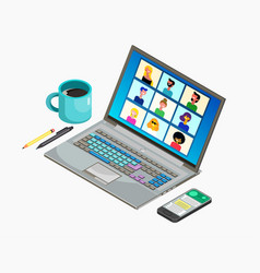 Online virtual meetings work from home distance vector