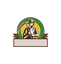 Organic Farmer Holding Scythe Circle Woodcut vector image