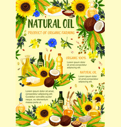 Organic vegetable and nut oil products poster vector