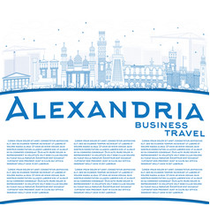 Outline alexandria skyline with blue buildings vector
