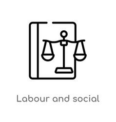 Outline labour and social law icon isolated black vector