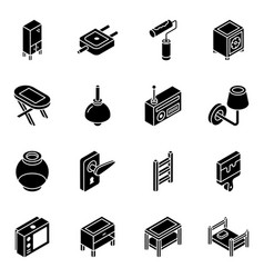 Pack furniture and electric devices glyph isome vector