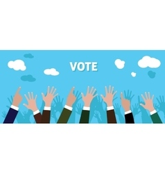 People give vote with raise his hand blue vector