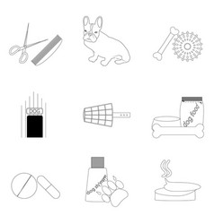 pet care linear icons set vector image vector image
