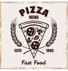 piece pizza emblem badge label or logo vector image