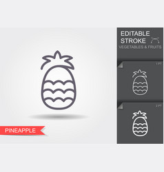 pineapple line icon with editable stroke with vector image