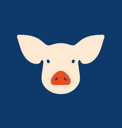 Pink pig in flat style a symbol of the 2019 vector