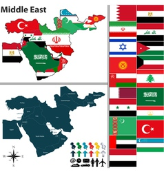 Political map middle east with flags vector
