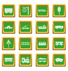 Railway icons set green vector