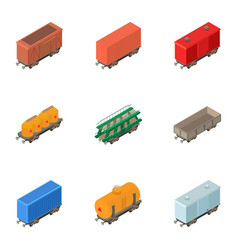 railway wagon icons set isometric style vector image