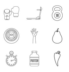 Restore health icons set outline style vector