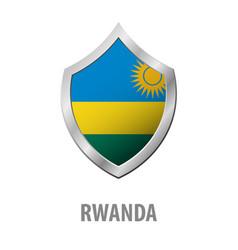 Rwanda flag on metal shiny shield vector