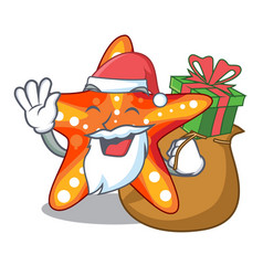 santa with gift underwater sea in the starfish vector image