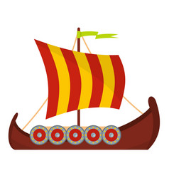 Scandinavian ship icon flat style vector