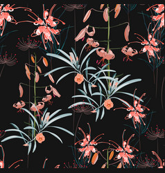 seamless pattern orange lily flowers vector image