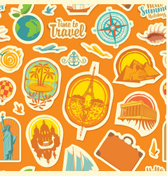 seamless pattern with travel stickers or magnets vector image
