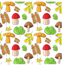Seamless pattern with wild mushrooms and vector