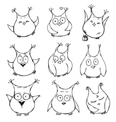 Set of cute cartoon owls with various emotions vector