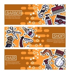 Set of Horizontal Banners about barber shop vector