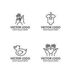 Set of logo design templates in linear style - vector