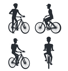 set people riding on bike monochrome silhouette vector image