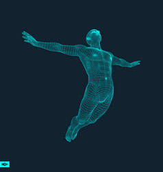 silhouette of a jumping man 3d model of man vector image