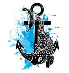 silhouette sea animals with anchor vector image