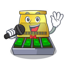 Singing cash register with lcd display cartoon vector