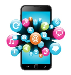 Smart phone with internet icons vector image