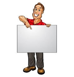 Smiling businessman pointing at blank banner vector image