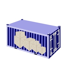 Stack of Wooden Crates in A Cargo Container vector image