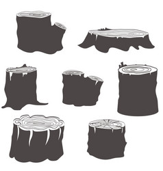 Stump black and white silhouettes set vector